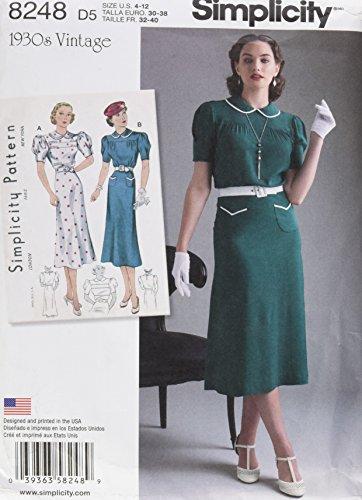 Simplicity pattern 8248D5Misses 'vintage 1930–Cartamodello usato  Spedito ovunque in Italia