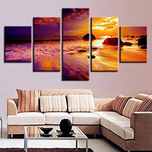 mmwin Leinwandbilder Modernes Dekor Wohnzimmer Wandkunstwerke 5 Stücke Sonnenuntergang Seascape Modular s Poster HD Drucke Kunstwerk
