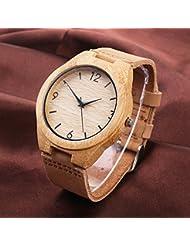 Silver Fox Horloge en bois en bambou | Retro bracelet en cuir pour hommes et femmes Bracelet en cuir véritable et mouvement quartz japonais | Réaliser des montres de qualité