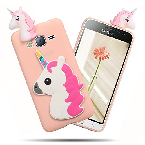 SpiritSun Coque Galaxy J3/J3 2016 Silicone, 3D Licorne Ultra Fine TPU Housse Flexible Souple Silicone Etui Coque de Protection Ultra Mince Premium Coque Crystal Gel Doux [Anti-Rayures] [Anti Choc]