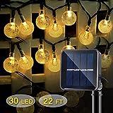 IDESION LED Solar Lichterkette mit LED Kugel 8 Modi IP65 Wasserdicht Warmweiß Lichterkette 6.5M 30 LEDs (Warmweiß)