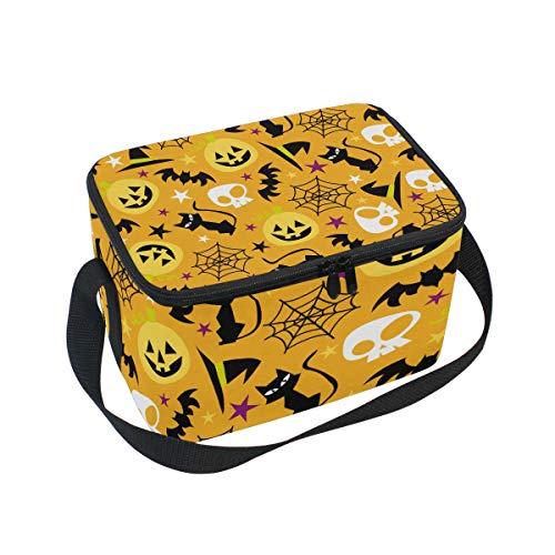 Isolierte Lunchbox mit Schulterriemen, Halloween, Kürbis und Katzen-Motiv, für Schule, Büro, Kühltasche, Herren, Damen, Kinder, Mädchen, Jungen, Erwachsene