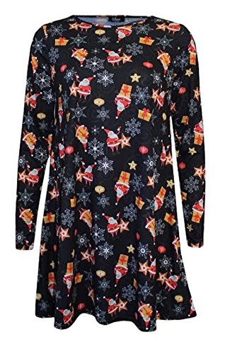 Generic - Robe - Patineuse - Manches Longues - Femme Black Santa Gift