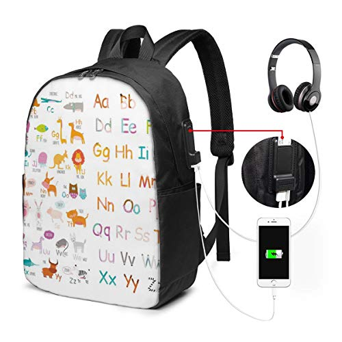 Nicokee Rucksack mit USB-Ladeanschluss, niedliches Cartoon-Tiere, Lern-Alphabet, Buchstaben, Kinder-Sport-Rucksack, Schule, Buchtasche, 43,2 cm (17 Zoll) für Damen und Herren