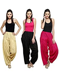 Fashion Store Women Cotton Patiala Salwar Combo Of 3 (Free Size,Skin & Pink & Black )