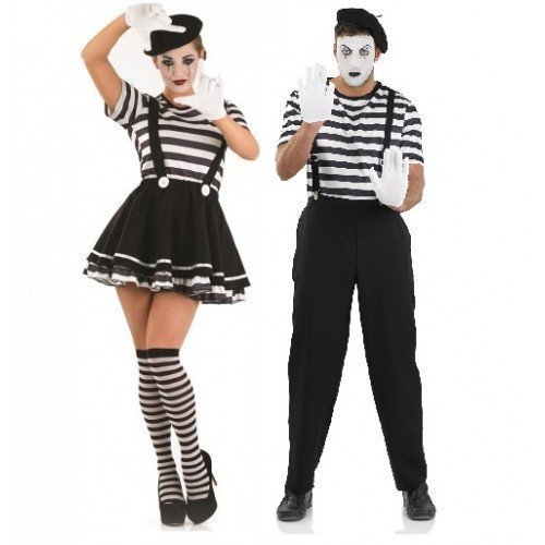 amen Französischer Pantomime Künstler Theater Zirkus Halloween verschiedene Größen - Schwarz, Damen 40-42 & Herren M (Herren Halloween-kostüme Größe Kleine Uk)