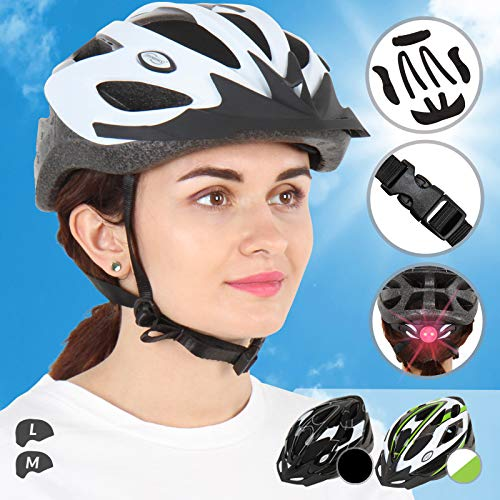 Physionics Fahrradhelm für Erwachsene | mit LED Licht an der Hinterseite des Helmes, inkl. Einstellrad, schlagfest, Farb- und Größenwahl | Radhelm, Skateboard,...
