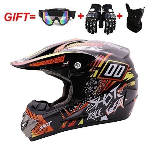 WLT Casco integrale da motocross, protezione di sicurezza per caschi da moto fuoristrada, casco con guanti e maschera, XL58~59 cm, 125-HCQQ