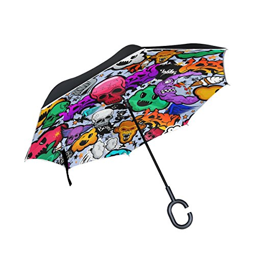 Bennigiry Paraguas inverso 10+ Paraguas invertido doble capa color calavera paraguas resistente al viento protección UV con mango en forma de C, Multi#002, talla única