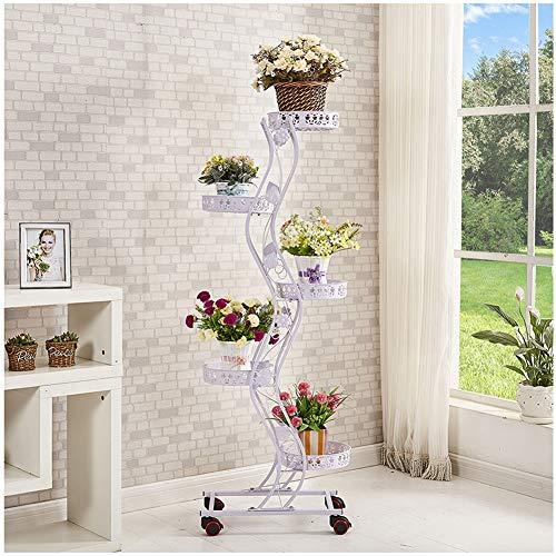 Catrp porta fiori fioriera scaffale ferro fioriera verticale a scala con ruote interno scaffale decor fiore rack, 3 colori (colore : bianca)