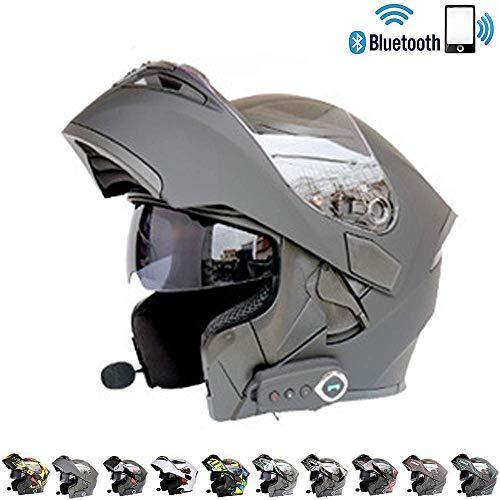 DTVX Built-in Bluetooth Casco del Motociclo modulare ECE Certificazione di Sicurezza DOT Standard-Pieno Viso Racing Casco Moto Globale L codice (59-60cm),F,L