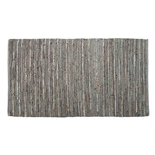 Homescapes Denver Tapis en Cuir 100% recyclé Gris - 90 x 150 cm