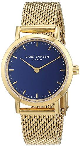 Lars Larsen 124GDGM - Orologio con Quadrante Analogico Blu e cinturino in Acciaio Inossidabile colore Oro da Donna