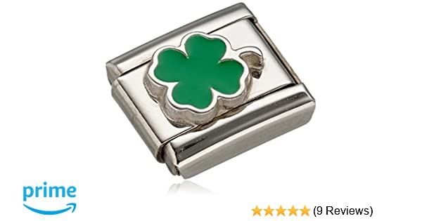 Nomination Composable 330202/12 Women's Charm Shamrock Green Stainless Steel Enamel X7AjqIds