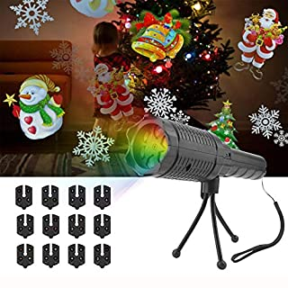AOOPOO Portable Projector Lights Christmas LED Projector Flashlight,2 in 1 Handheld Projector Lights with 12 Pattern Slides and Tripod USB Charging for Halloween Christmas Birthday Party Decoration