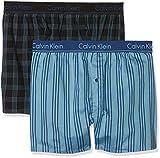 Calvin Klein Herren Boxershorts 2P Slim FIT Boxer, 2er Pack, Blau (Stripe 5 Symphony & Dodger Blue/Plaid 2 Bvn), Medium