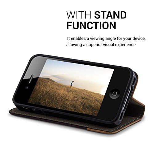 kwmobile Housse flip case pour Apple iPhone 4 / 4S pochette cover bookstyle en simili-cuir et textile en anthracite marron .anthracite marron