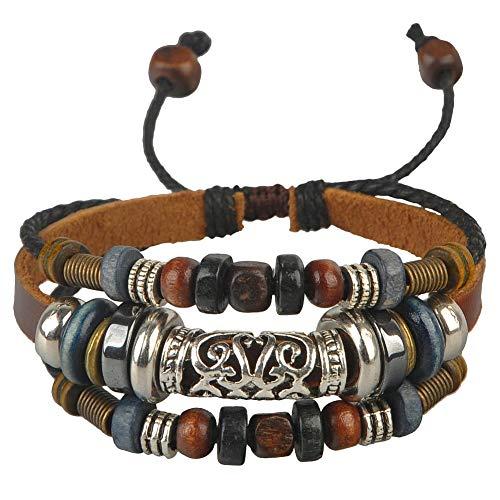 Ancient tribe canapa da donna in pelle perline braccialetto in rilievo