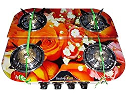 Suraksha Shine Crystal Bose Digital Design Stainless Steel Body with Toughened Glass Top 4 Tri Pin Brass Burner Automatic Gas Stove.(Rose Orange Design)