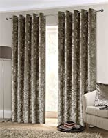 """Luxury Thick Crushed Velvet Mink Beige Lined Ring Top Woven Curtains 90"""" X 108"""" by Curtains"""