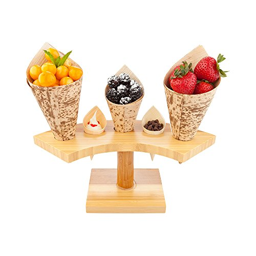 10-inch Crescent Food Cone and Sushi Hand Roll Display Stand: Perfect for Restaurants, Catered Events, and Buffets - Holds 5 Cones - Made from Organic Bamboo - 1 Count Box - Restaurantware