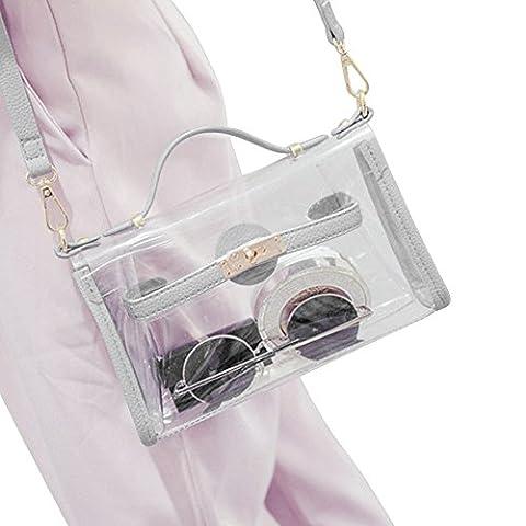 Yocatech Durchsichtige Tasche Crossbody Messenger Umhängetasche Geldbörse für Frauen Verstellbarer Armband (Grau)
