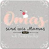 Sheepworld - 45661 - Untersetzer Omas sind wie Mamas nur mit Puderzucker, Kork, 9,5cm x 9,5cm