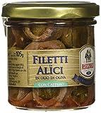 Rizzoli Filetti di Alici Vaso Vetro in Olio di Oliva con Cappero - 6 Confezioni da 165 gr