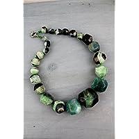 COLLANA IN PIETRA DURA, multicolore, lunghezza media 50 CM - quarzo nuvola, agata striata verde e nera