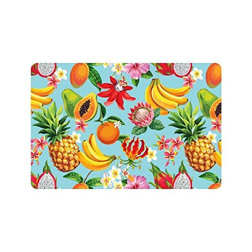 LIS HOME Tropische Früchte und Blumen rutschfeste Fußmatten Eingangsmatte Bodenteppich Innen/Außen/Vordertürmatten Wohnkultur, Gummiunterlage