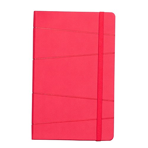 Labon 's Classic Notebook Italienisches PU-Hardcover Persönliches tagebuch Tagebuch Vertikal elastischer Band Kordel Verschluss A5 rot -