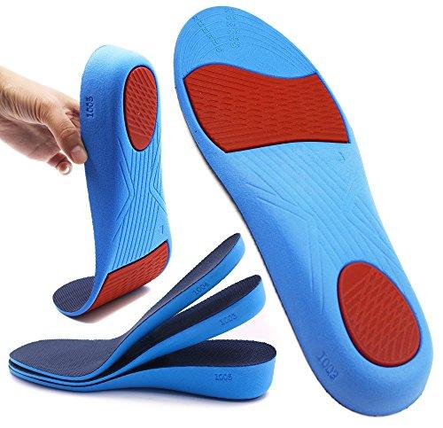 ERGOfoot Erhöhen die Höhe Einlegesohle Fersenheben Höhere Einsätze Sofort einstellbar Die Höhe mit bequemem, atmungsaktivem Fuß erhöhen und Fußdruck reduzieren für Frauen und Männer (Keil Aufzug)