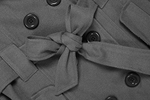 ANGVNS Damen Mantel Trenchcoat Wintermantel Dufflecoat Mit Gürtel und Kapuze Knopflist Grau