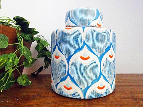 Yajutang Chinesische Vase Porzellan Deckelvase Ingwergefäß Ginger Jar 20 cm P0001 (Ginger Jar Vase)
