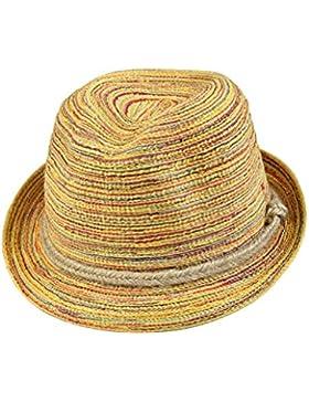 Tinksky Mujeres Lady Girl Panama Sombrero de paja plegable rayado colorido Topee Bohemia Cap para el regalo de...