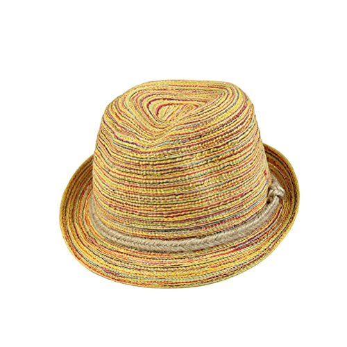 Tinksky Frauen Panama-Strohhut-Kappe Fedora-Hut Bunte gestreifte faltbare Sun-Kappe Bohemia Strand-Sommer (Fedora-hüte Für Frauen Groß)