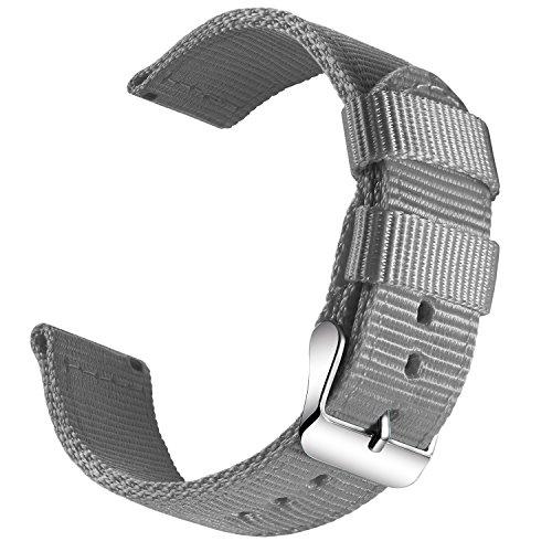 OLLREAR Nylon Uhrenarmband Leinwand Armbanduhr Militär Armee Uhrenband - 13 Colors & 4 Sizes - 18mm, 20mm, 22mm, 24mm (18mm, Gray)