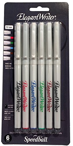 Speedball Art Productos Elegante Writer Caligrafía Rotuladores 6/Pkg- Fine Point