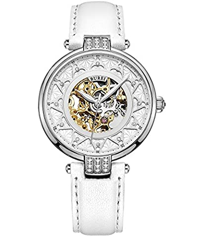 BUREI Skeleton Ladies Automatic Watch Self-winding Women Automatic watch with Sapphire Crystal and White Calf Skin Leather Strap in Crystal Dial for Fashion Dress Gifts for Women