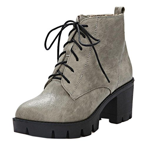 Eclair Fermeture Femmes Yatfw6qcp6 Taoffen Botines Gray Lateral Chunky RwOqdRPF