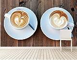 BZDHWWH Benutzerdefinierte Tapete Getränke Kaffeetasse Essen Wallpaperliving Room Sofa Tv Wand Restaurant Küche 3D Wandbilder Tapete,140cm(W) x 70.5cm(H)