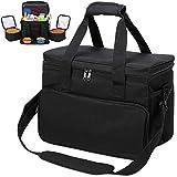 KOPEKS Reisetasche für Hunde, Katzen, Haustiere, Thermotasche mit Fächern, Napf und Tränke, faltbar, Reiseset, Schwarz