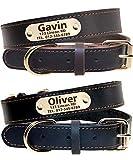 Taglory Personalisierter Hundehalsband aus Leder,Mit Namensschild graviert,Gold Metallschnalle benutzerdefinierte Halsbänder für Groß Hunde/47-62cm, Schwarz, Braun