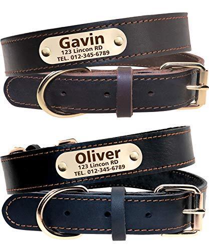 Taglory Personalisierter Hundehalsband aus Leder,Mit Namensschild graviert,Gold Metallschnalle benutzerdefinierte Halsbänder für Mittel Hunde/38-48cm, Schwarz, Braun -