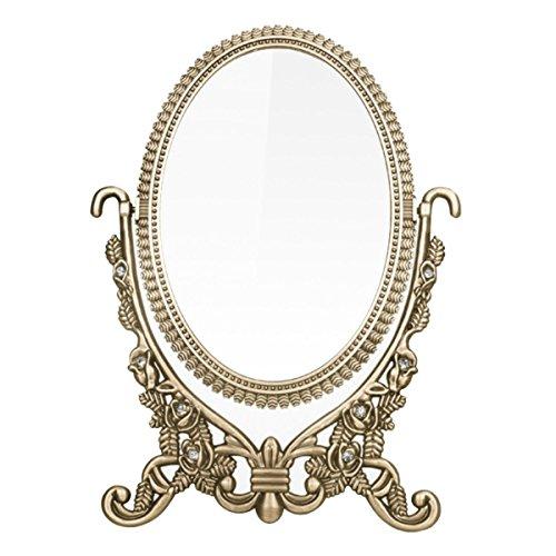 Vintage Retro de cosméticos espejo decorativo bronce Oval detallada escritorio espejo con rosas en relieve y brillantes soporte afeitado/mueble/mesa mirror-gift