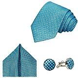 3-SET Krawatte Karo kariert |  Manschettenknöpfe Einstecktuch | Krawattenset zum Anzug Seide-Optik, Petrol | Graublau |Schwarz - 145cm x 8cm
