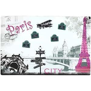 Tableau Memo Cuisine + 4 Petits Magnets Paris City Rose