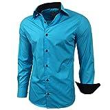 Baxboy Kontrast Herren Slim Fit Hemden Business Freizeit Langarm Hemd RN-44-2, Größe:M, Farbe:Türkis