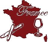 GRAZDesign 630310_57_030 Wandtattoo Wohnzimmer Frankreich Karte Länder Umriss Essen France Baguette Wein (66x57cm//030 dunkelrot)