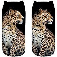 OHlive Suave Las Mujeres Leopardo 3D Impreso Zapatillas de Deporte Liners Tobillo Calcetines (1 par-BAO06-One Size) (Color : BAO06, tamaño : Talla única)